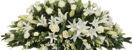 Serenity Double Ended Medium Size White Roses and Lilies
